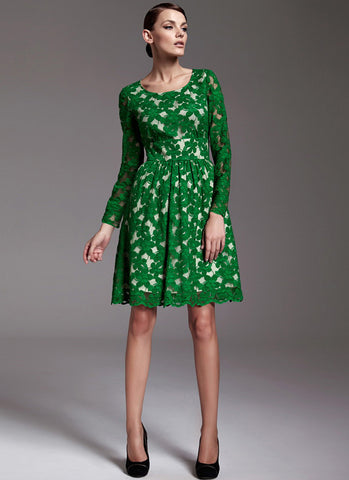 Long Sleeve Green Lace Aline Dress with Wide Waist Yoke RD181