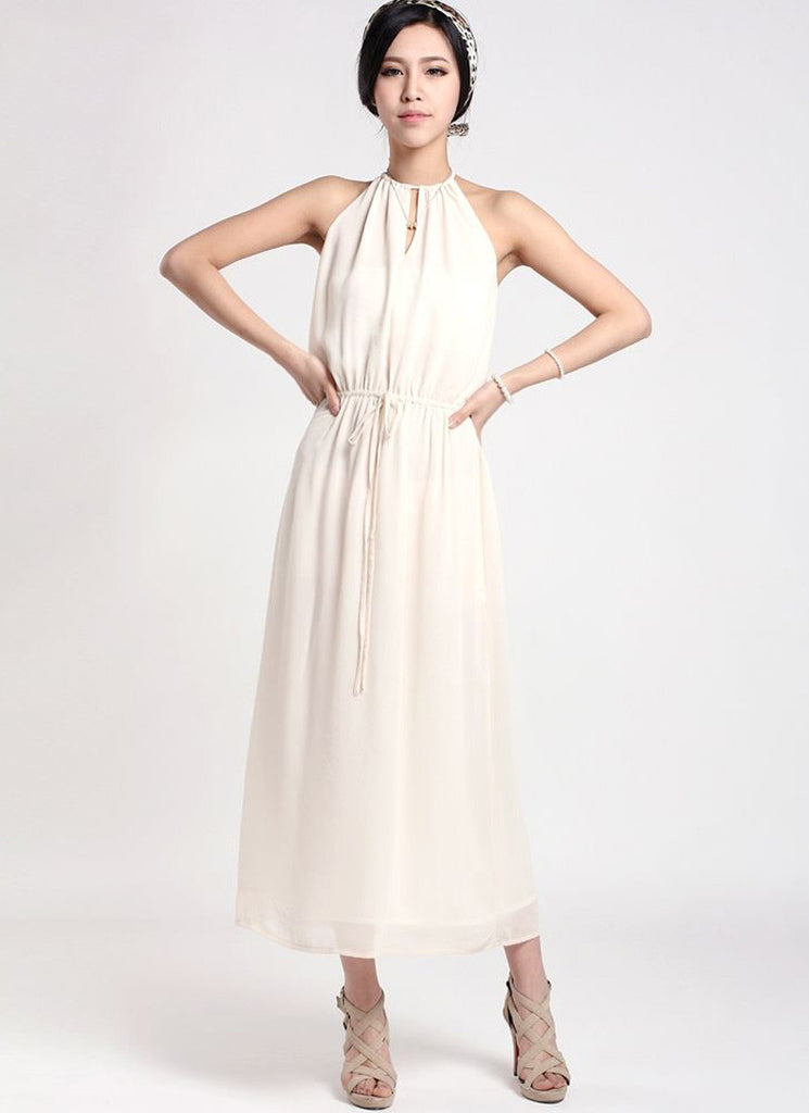 White Halter Tea Dress with Draw String Waist