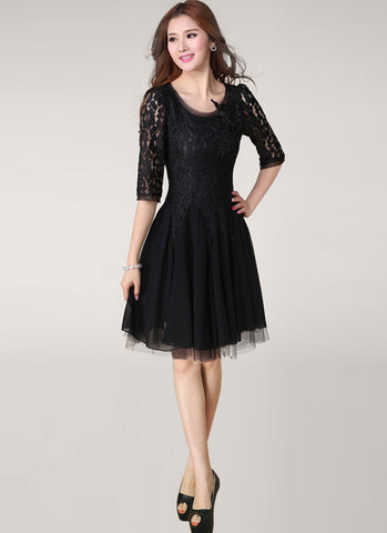 Black Lace Chiffon Fit and Flare Mini Dress with Beaded Appliqué RD260