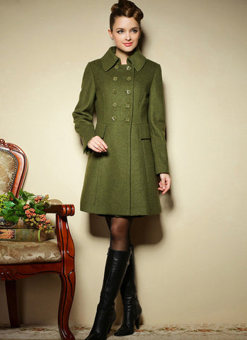 Double Breasted Short Olive Green Cashmere Wool Coat RB27