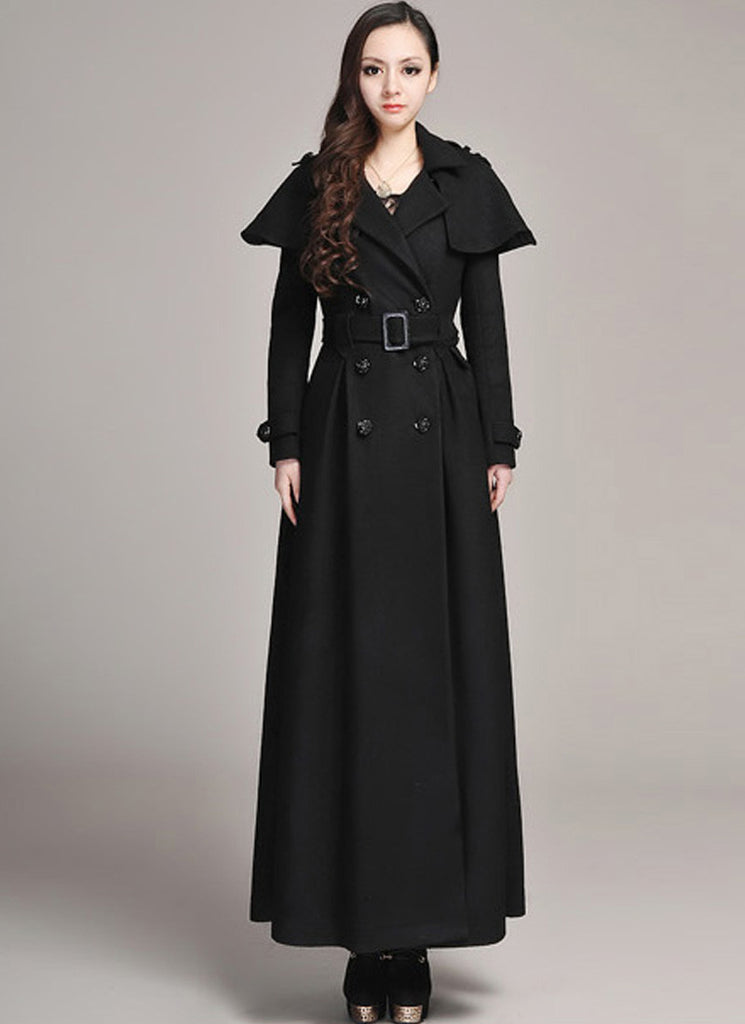 Double Breasted Black Cashmere Wool Coat with Cloak