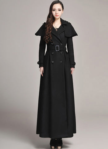 Double Breasted Black Cashmere Wool Coat with Cloak RB1