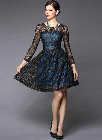 Gold Gilded Black Lace Fit and Flare Dress with Contrast Blue Lining RD258