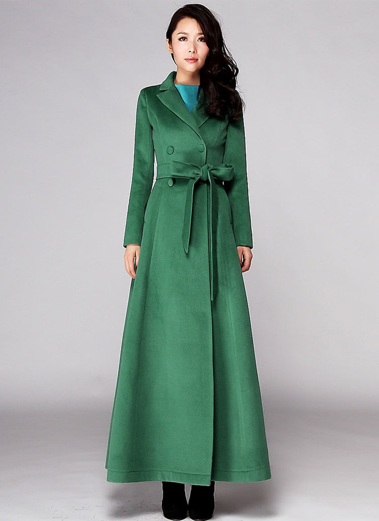 Double Breasted Long Sea Green Cashmere Wool Coat