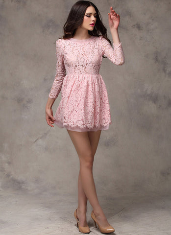 Pink Lace Organza Fit N Flare Mini Dress with Scallop and Eyelash Details RD268