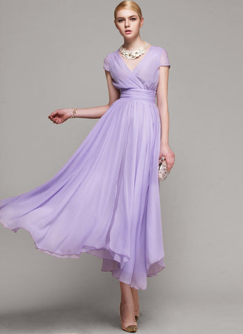 V Neck Violet  Midi Dress with Layered Skirt and Ruched Waist Yoke RM114