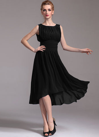 Pleated Black Hi Lo Hem Dress with Empire Waist R25