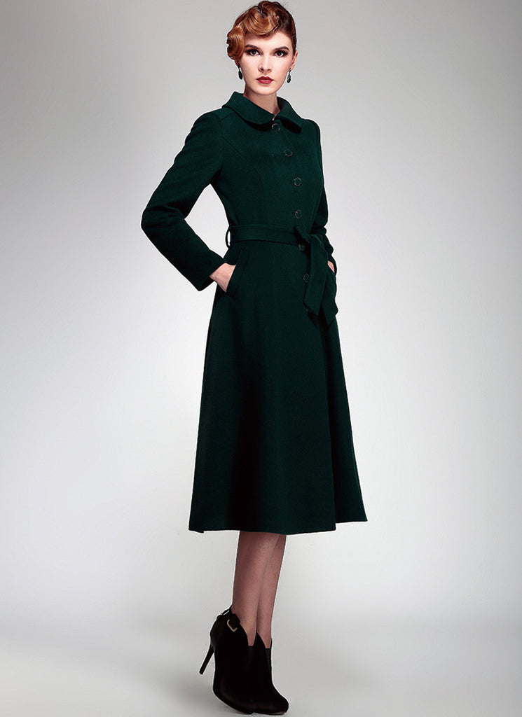 Single Breasted Dark Green Cashmere Wool Coat with Peter Pan Collar