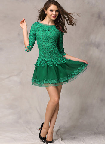 Green Lace Organza Mini Dress with Asymmetric Peplum and Floral Appliqué RD267