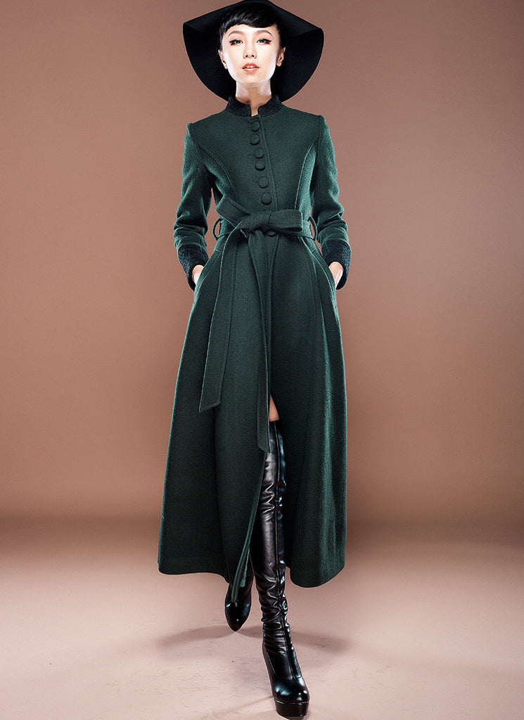 Green Cashmere Wool Coat with Stand Collar & Lace Details