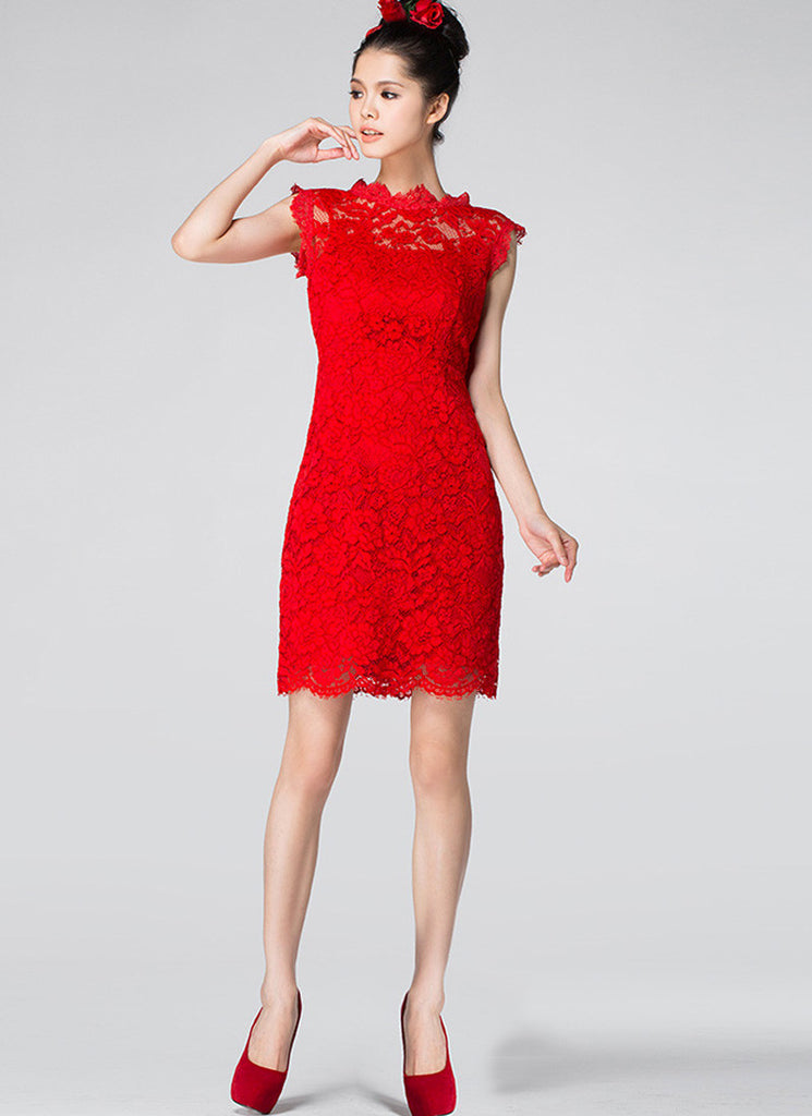 Red Lace Sheath Dress with Scallop Hem & Bow Embellishment