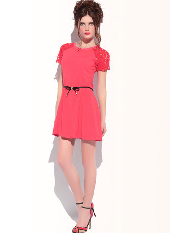 Red A Line Dress with Lace Sleeves & Eyelash Details R27