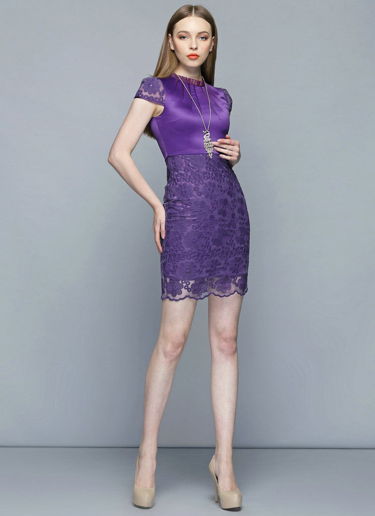 Purple Satin Lace Mini Sheath Dress with Ruffled Neckline and Cap Sleeves