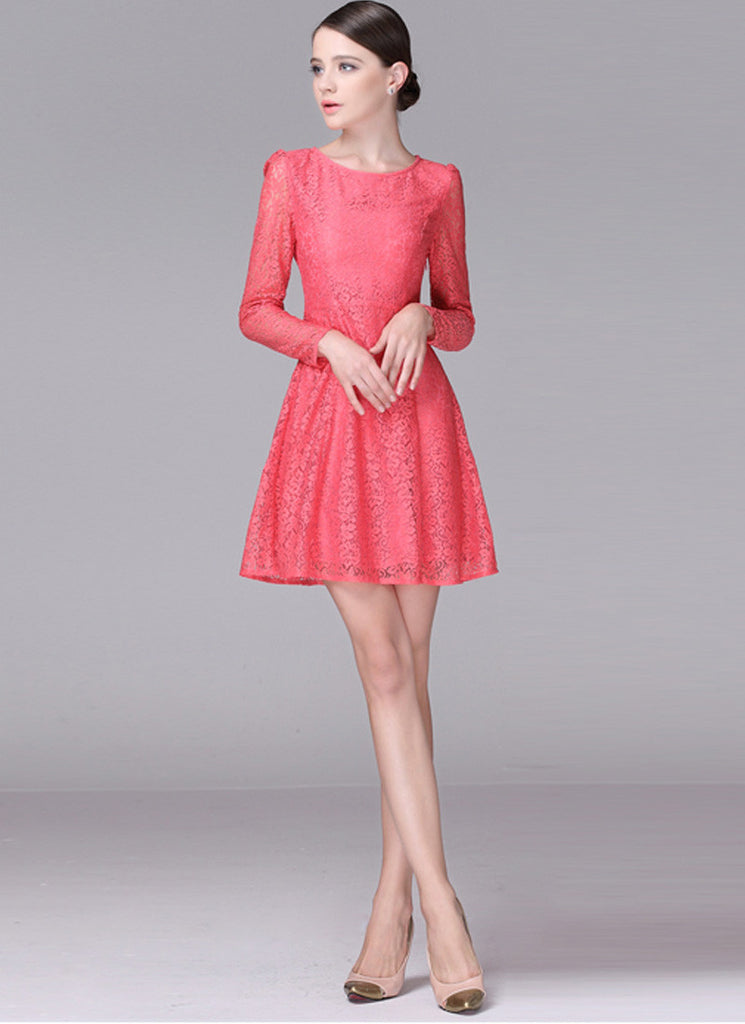 Coral Fit N Flare Lace Mini Dress with Puff Sleeves