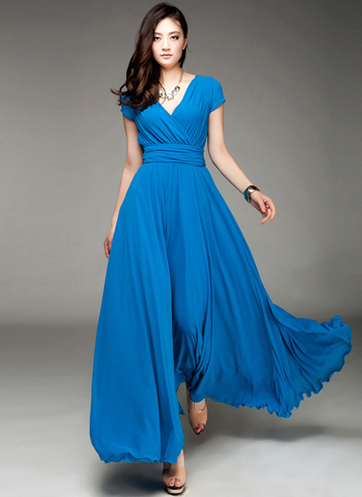 Cap Sleeve Blue Maxi Dress with V Neck & Ruched Waist Yoke