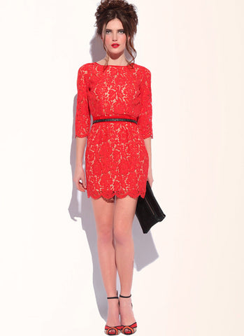 Red Lace Sheath Dress with V Back & Half Sleeves RD15