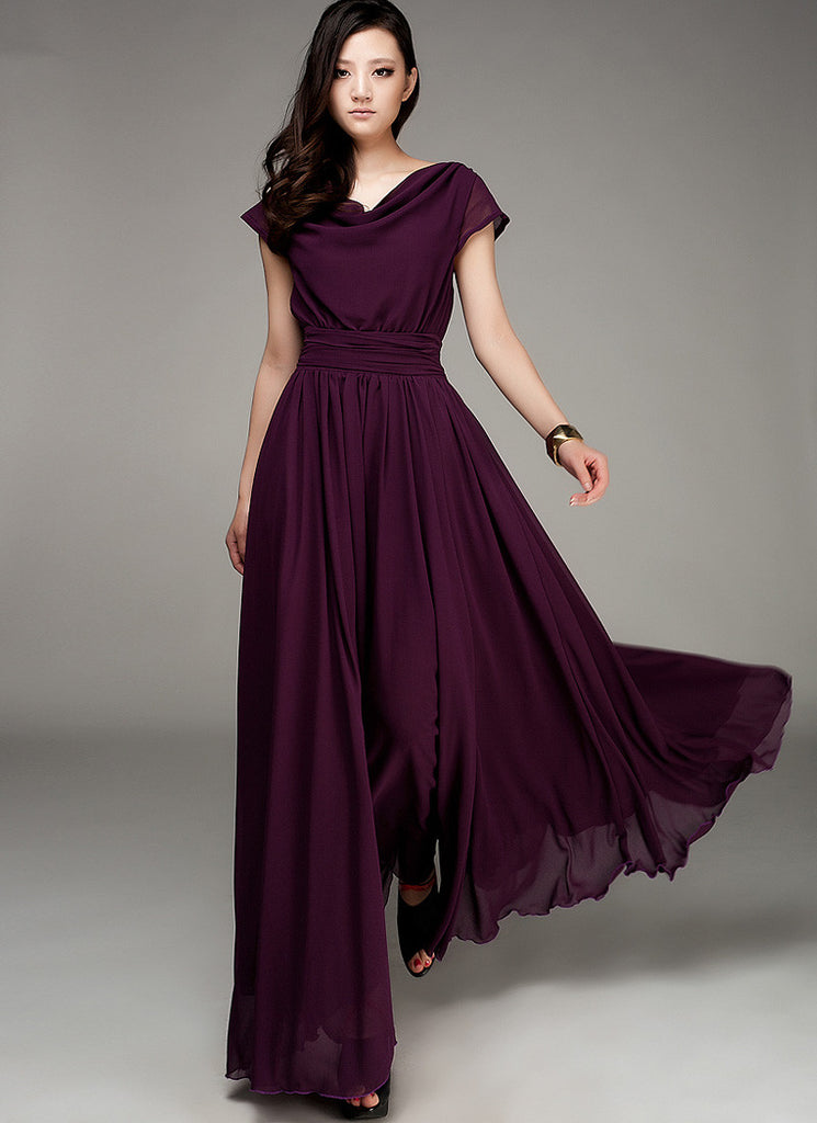 Purple Maxi Dress with Draped Neckline and Ruched Waist Yoke