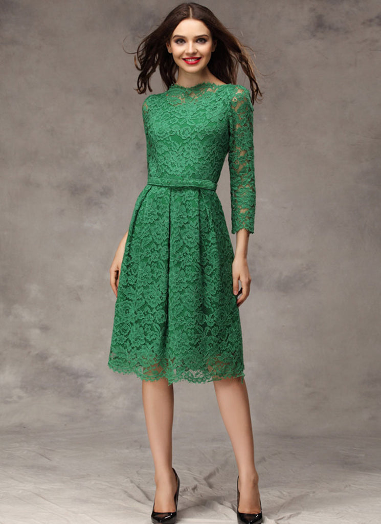 Green Lace Mini Dress with Scallop and Eyelash Details