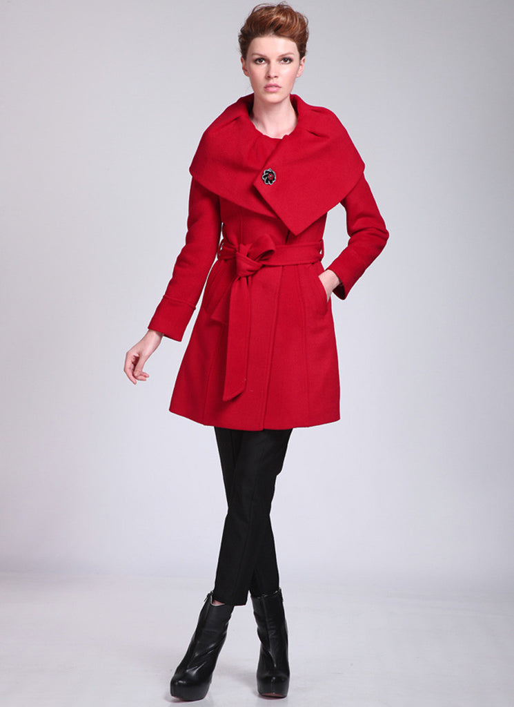 Short Red Cashmere Wool Coat with Shaw Collar