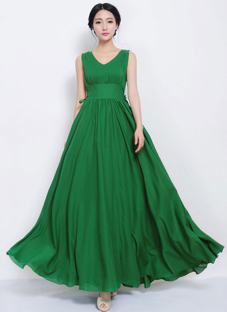 V Neck V Back Green Maxi Dress with Draw String Waist Yoke