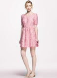 Pink Abstract Floral Embroider Lace Aline Dress