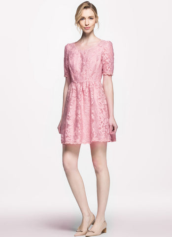 Pink Abstract Floral Embroider Lace Aline Dress RD219