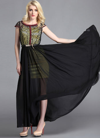 Beaded Black Lace Chiffon Maxi Dress with Yellow Slip RM63