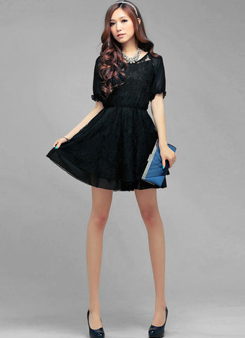 Embroidered Black Lace Mini Dress with Free Slip R1