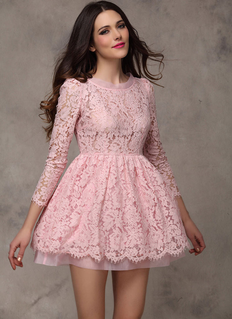 7f908e55320d1 Pink Lace Organza Fit N Flare Mini Dress with Scallop and Eyelash Details