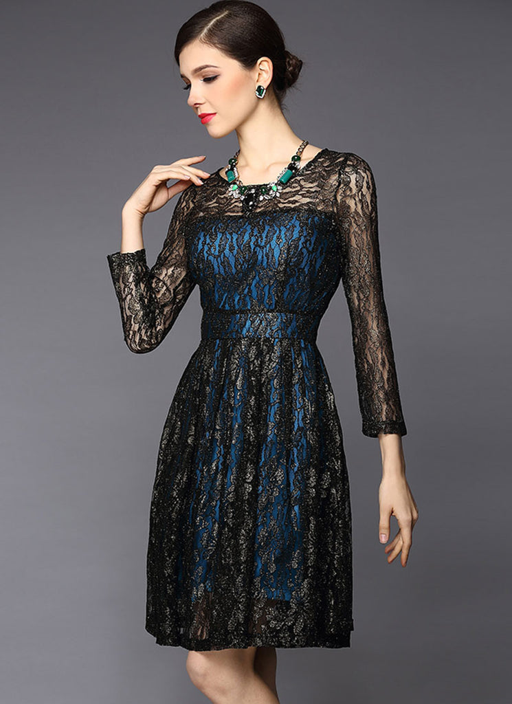 Gold Gilded Black Lace Fit And Flare Dress With Contrast Blue Lining