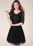 Black Lace Chiffon Fit and Flare Mini Dress with Beaded Appliqué