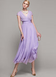 V Neck Violet  Midi Dress with Layered Skirt and Ruched Waist Yoke