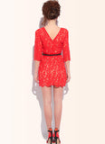 Red Lace Sheath Dress with V Back & Half Sleeves