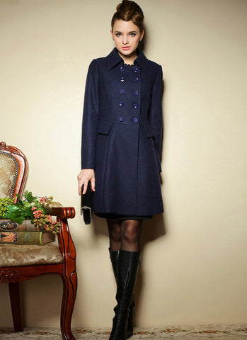 Double Breasted Short Navy Cashmere Wool Coat RB27