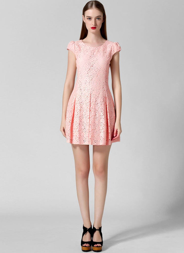 Coral Pink Lace Fit N Flare Mini Dress with Puff Cap Sleeves