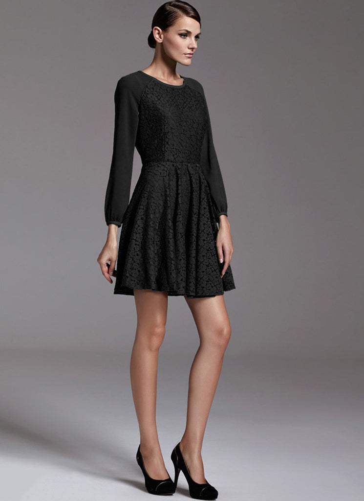 Black Lace Fit N Flare Mini Dress with Raglan Sleeves