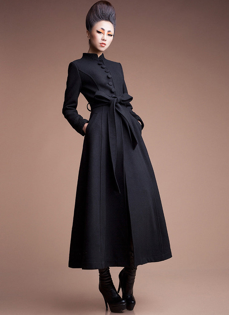 Navy Cashmere Wool Coat with Stand Collar & Lace Details