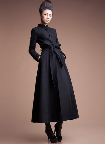 Navy Cashmere Wool Coat with Stand Collar & Lace Details RB5