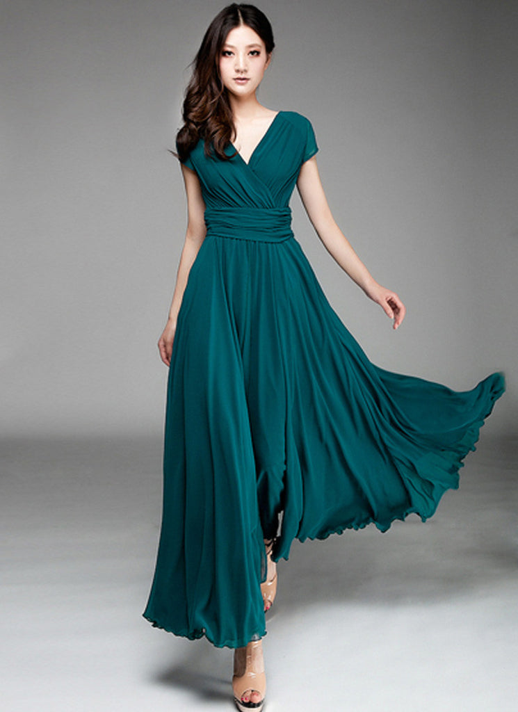 Cap Sleeve Teal Maxi Dress with V Neck & Ruched Waist Yoke