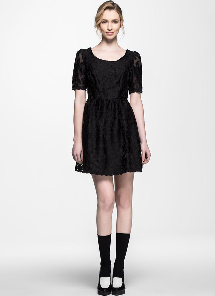 Black Abstract Floral Embroider Lace Aline Dress
