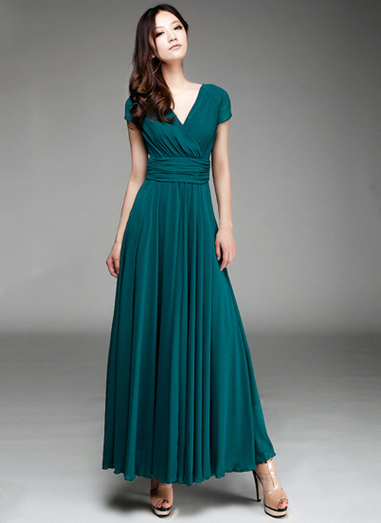 Cap Sleeve Teal Maxi Dress with V Neck & Ruched Waist Yoke RM157 ...