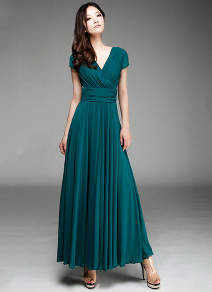 Cap Sleeve Teal Maxi Dress With V Neck Amp Ruched Waist Yoke