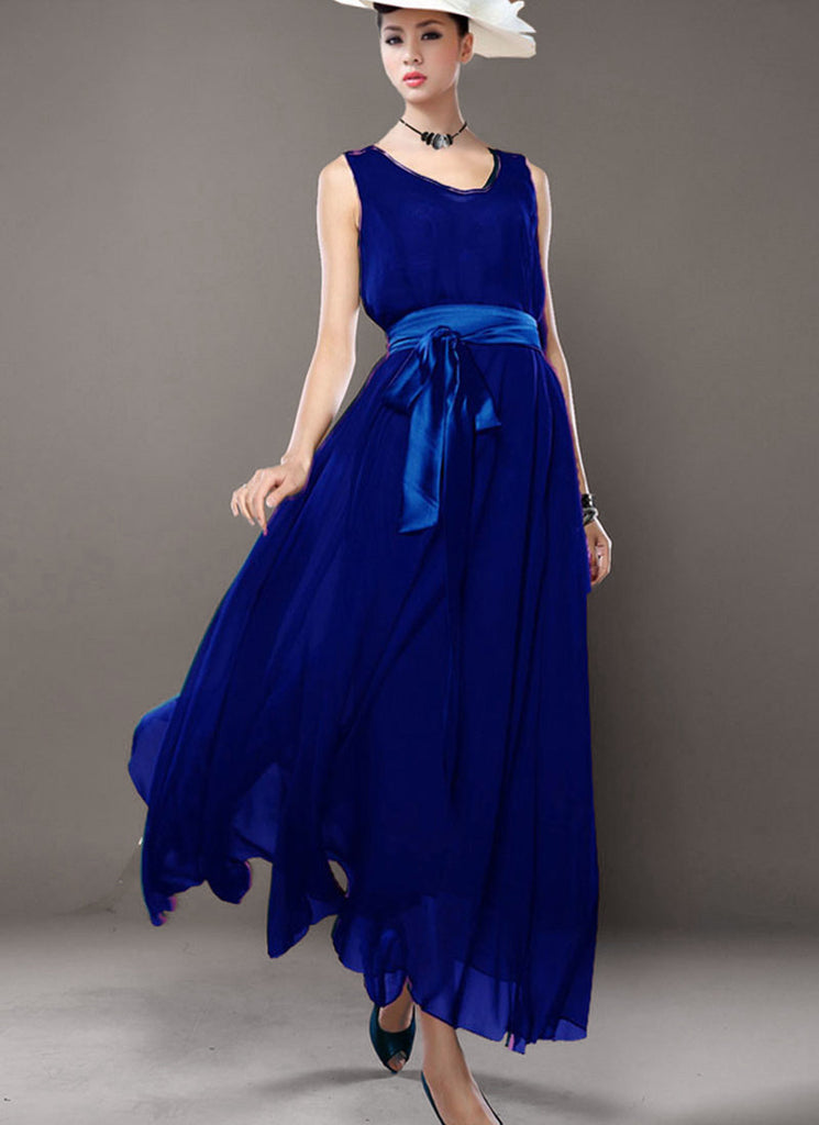 V Neck V Back Blue Chiffon Maxi Dress with Satin Sash