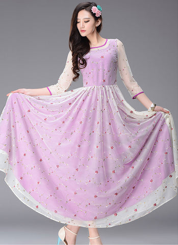 Floral Embroidered Orchid Maxi Dress with 3 Quarter Sleeves RM234