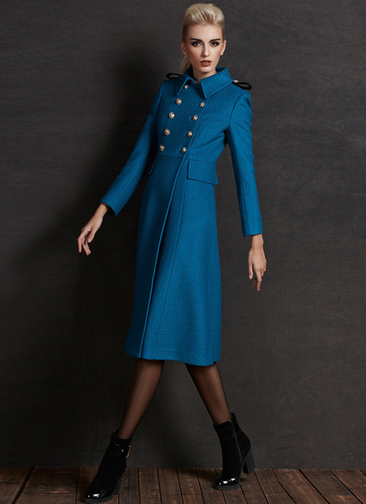 Deep Sky Blue Cashmere Wool Coat