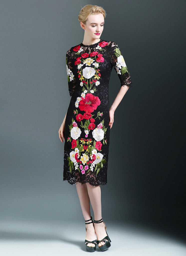 Black Lace Tea Dress with Bold Colorful Floral Embroidery