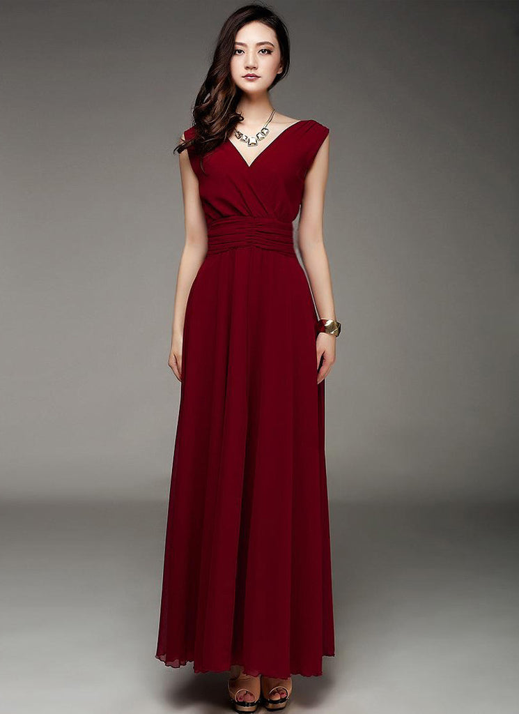 V Neck & V Back Burgundy Maxi Dress with Ruched Waist Yoke