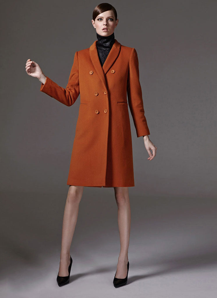 Dark Orange Cashmere Wool Coat in Slim Fit Silhouette