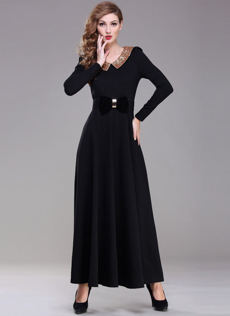Black Maxi Dress with Sequined Peter Pan Collar