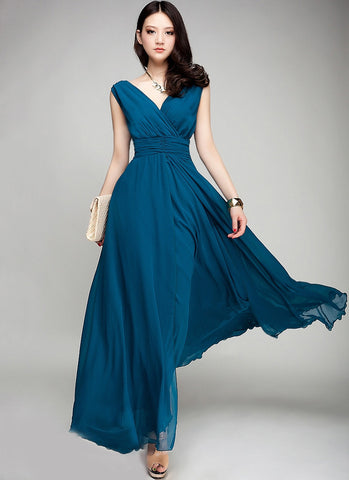 V Neck & V Back Teal Maxi Dress with Ruched Waist Yoke RM53